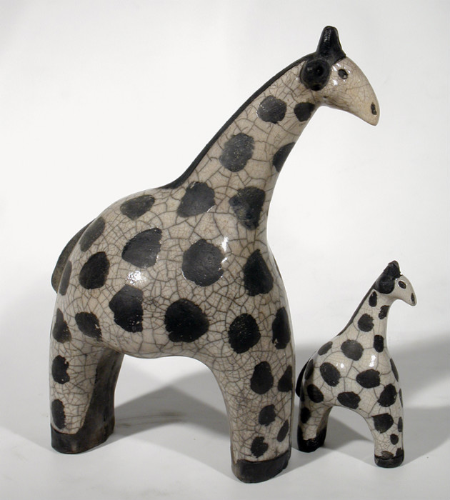 Savannah girafes duo s xxl c ramique d 39 art les animaux for Art et decoration france